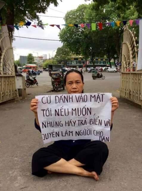 Một giáo viên tại Hà Nội tọa kháng biểu tình ôn hòa. Ảnh Internet.
